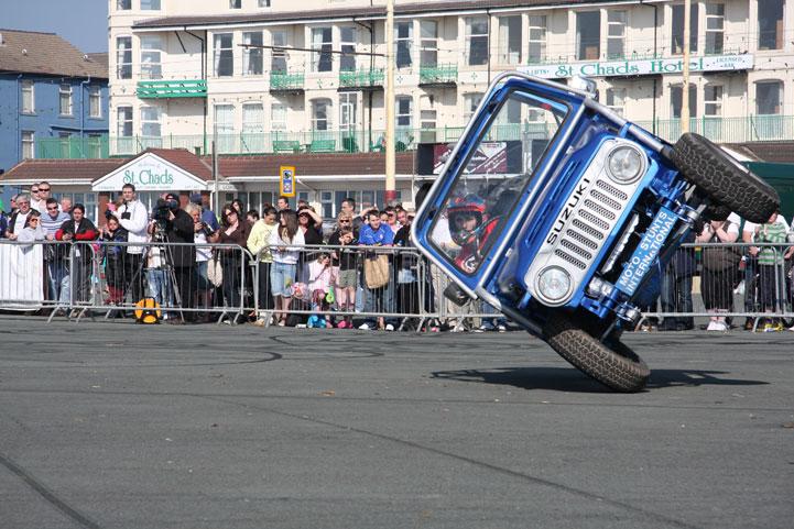 two wheel car stunt